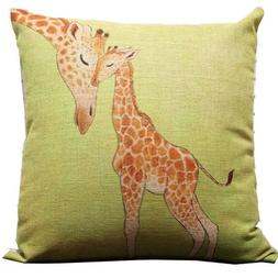 Giraffe and Its Mother Throw Pillow Case Decor Cushion Cover