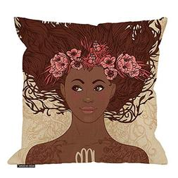 HGOD DESIGNS Girl Throw Pillow Cushion Cover,Zodiac Beautifu