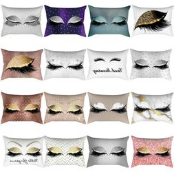 Gold Pink Eyelash Out Soft Velvet Cushion Cover Marble Pillo