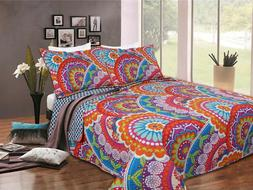 Great Quality 3 piece Quilt Bed Set 2 Pillow Cases and 1 Qui