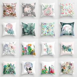 Green Cactus Succulent Plant Throw Pillow Cases Sofa Cushion