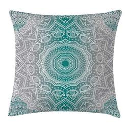 Ambesonne Grey and Teal Throw Pillow Cushion Cover, Mandala