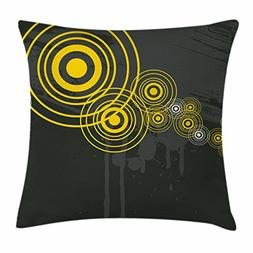 Grey and Yellow Throw Pillow Cushion Cover by Ambesonne, Mus