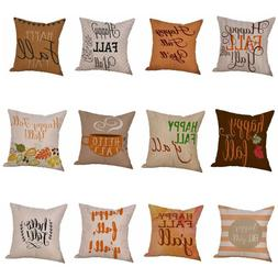 Halloween Happy Fall Yall Flax Pillow Cases Linen Sofa Cushi