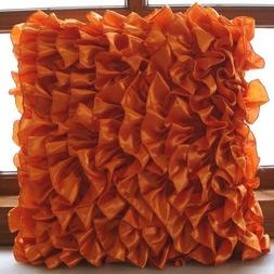 Handmade Orange Throw Pillows Cover, Vintage Style Ruffles S