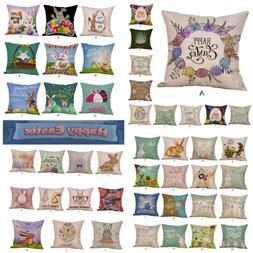 Happy Easter Bunny Pillow Cases Linen Sofa Cushion Cover Hom