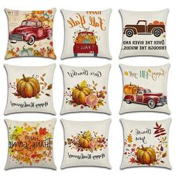 Happy Fall Thanksgiving Halloween Linen Pillow Cases Pumpkin
