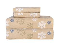 Pointehaven Heavy Weight Printed Flannel Sheet Set, Full, Sn