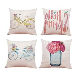 4-Pack Hello Spring Throw Pillow Cover Vintage Bicycle Flowe