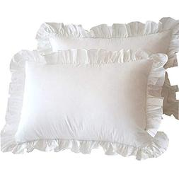 Meaning4 Ruffle Pillow Cases Pinch Pleated Pillow Shams Cove