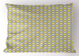 Ambesonne Ikat Pillow Sham, Surreal Geometric Pattern with S