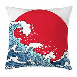 Ambesonne Japanese Wave Throw Pillow Cushion Cover, Big Red