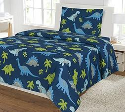 Kids printed sheet set: Flat & fitted sheets with pillow cas
