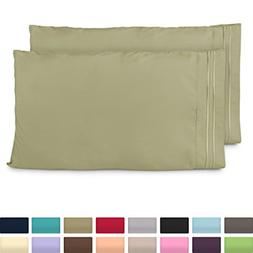 Cosy House Collection King Size Pillow Cases - Luxury Sage G