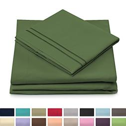 Full Size Bed Sheets - Olive Green Luxury Sheet Set - Deep P