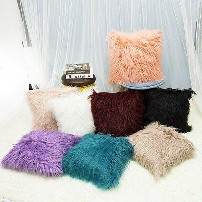 Fur Plush Velvet Square Throw Pillow Cases Waist Cushion Cov