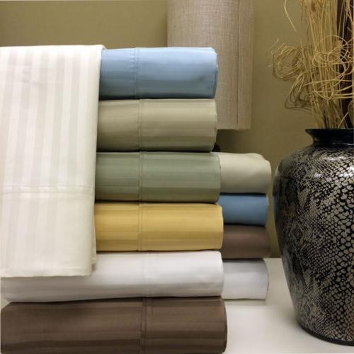 1000 thread count striped combed cotton pillowcases