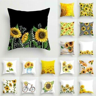 """18"""" Sunflower Polyester Cushion Cover Home Decor"""