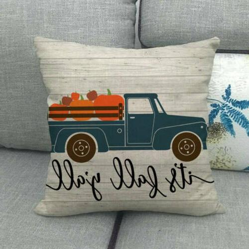 "18x18"" Fall Pumpkin Car Pillow Truck Cushion Cover Sofa"