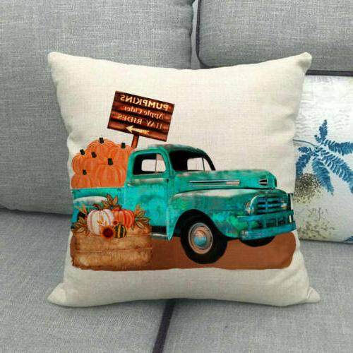 "18x18"" Harvest Car Throw Pillow Truck Decor"