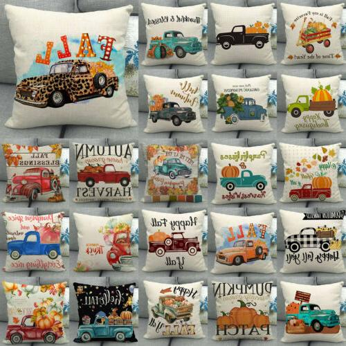 18x18 fall harvest pumpkin car throw pillow