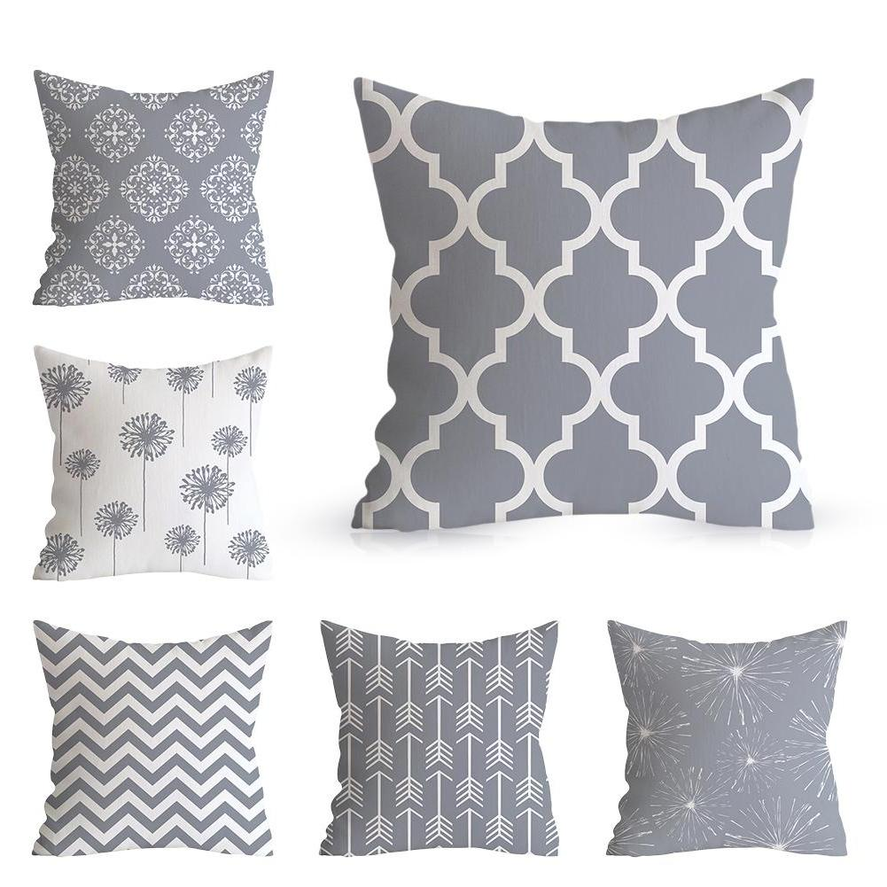 18x18 Gray Pillowcase Geometric Cushion <font><b>Pillow</b></font> Printing Cushion <font><b>Pillow</b></font> <font><b>Case</b></font> <font><b>Bedroom</b></font> New