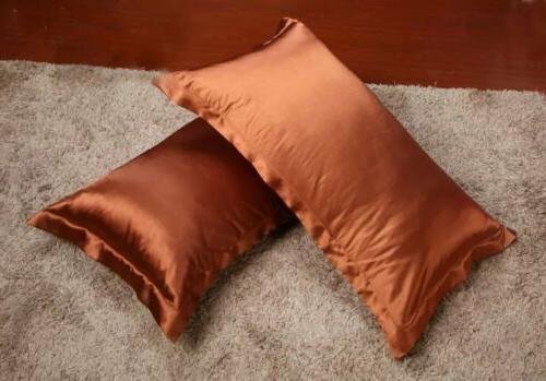 2017Summer Silk Satin Pillow Cases Comfort Solid Protector