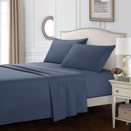 4 Piece Bedding Sets Bed Sheet Set 1800 Thread Count Deep Po