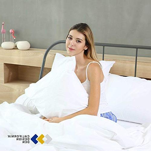 400 Thread Count 100% Cotton Pillow White Standard Set of Long-Staple for Soft Silky Pillow