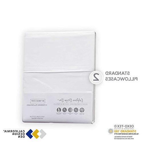 400 Count Cotton Cases, White of 2, Long-Staple Combed Pure Natural Cotton for Sleeping, Soft Silky Weave Pillow Covers