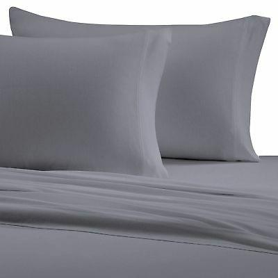 Brielle Cotton Jersey Knit  Sheet Set, King, Grey