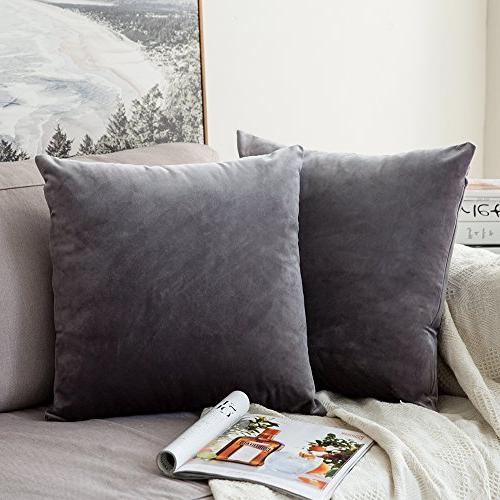 MIULEE Pack of 2, Velvet Square Pillow Covers Set Sofa x Inch 45 x cm