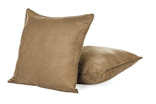 DreamHome Inches Light Color Faux Suede Euro Pillow Cover, Throw Case with Super Soft High Faux Both Sides
