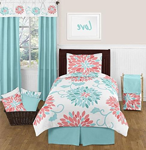 Sweet Turquoise and Coral Emma Full Double Zippered Body Pillow Case