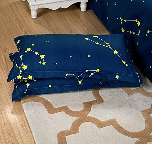 Bed Set Flat Sheet Pillow SIze Planet Star Designs No