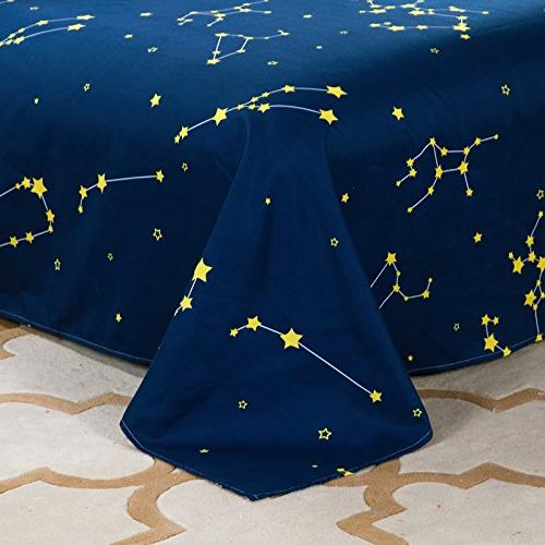 Bed Set Duvet Cover Sheet SIze Aloe Planet Star No