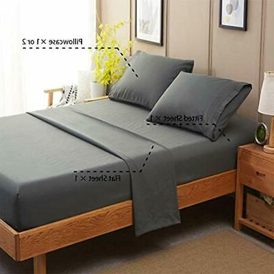 Bed Sheet Pillowcase Sets 1800 Count Luxury Deep