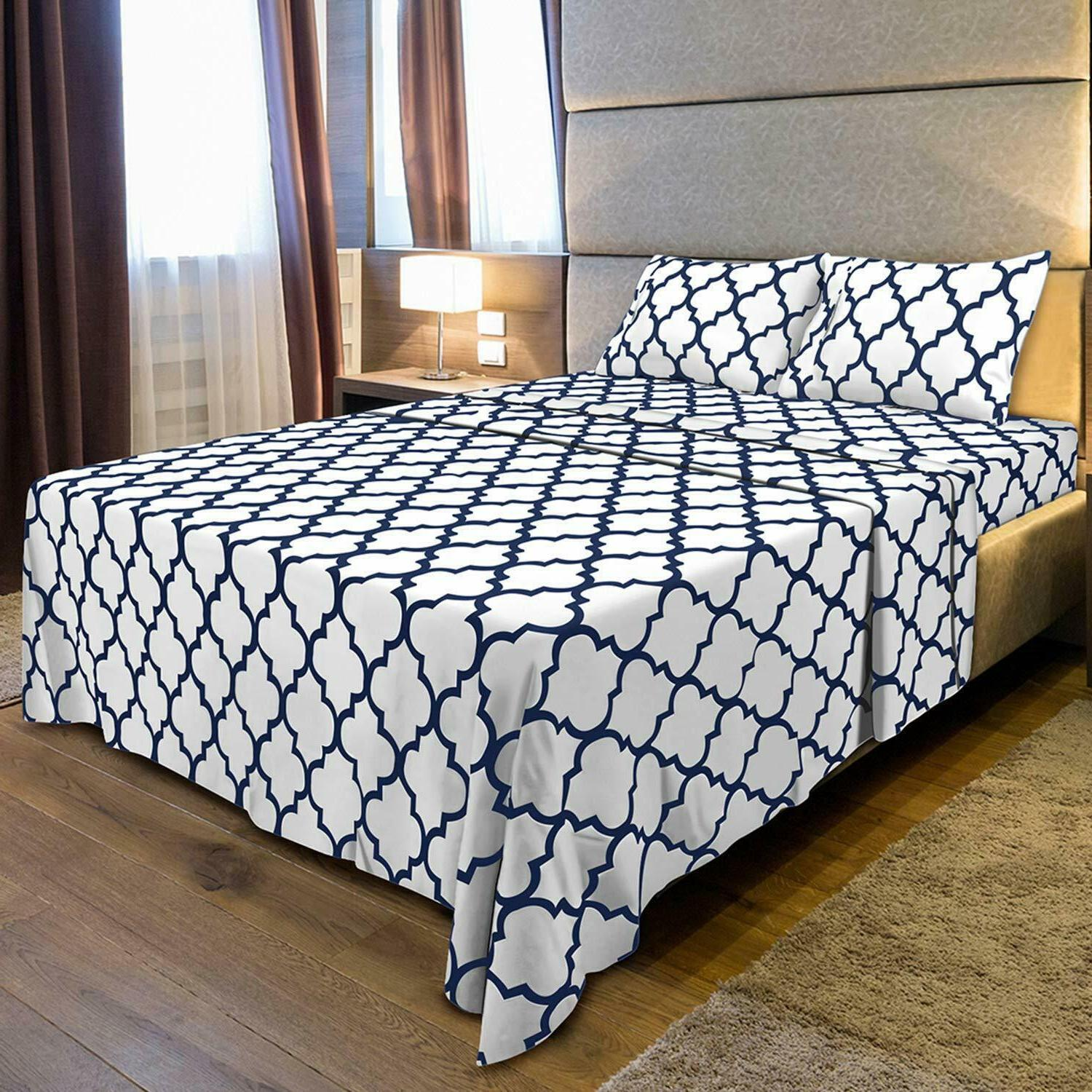 3Pc Set Fitted 1 Flat Pillowcase Bedding
