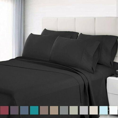 Bed Sheet Set 6 Piece With 4 Pillow Cases Soft Brushed Micro