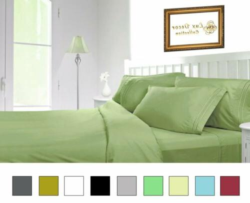 6 Piece Bed Sheet Set Hotel 4 PILLOW CASES