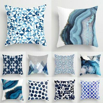 Blue Abstraction Pattern Pillow Cases Throw Cushion Cover Ca