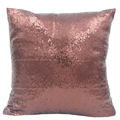 brown sequins cushion cover stylish