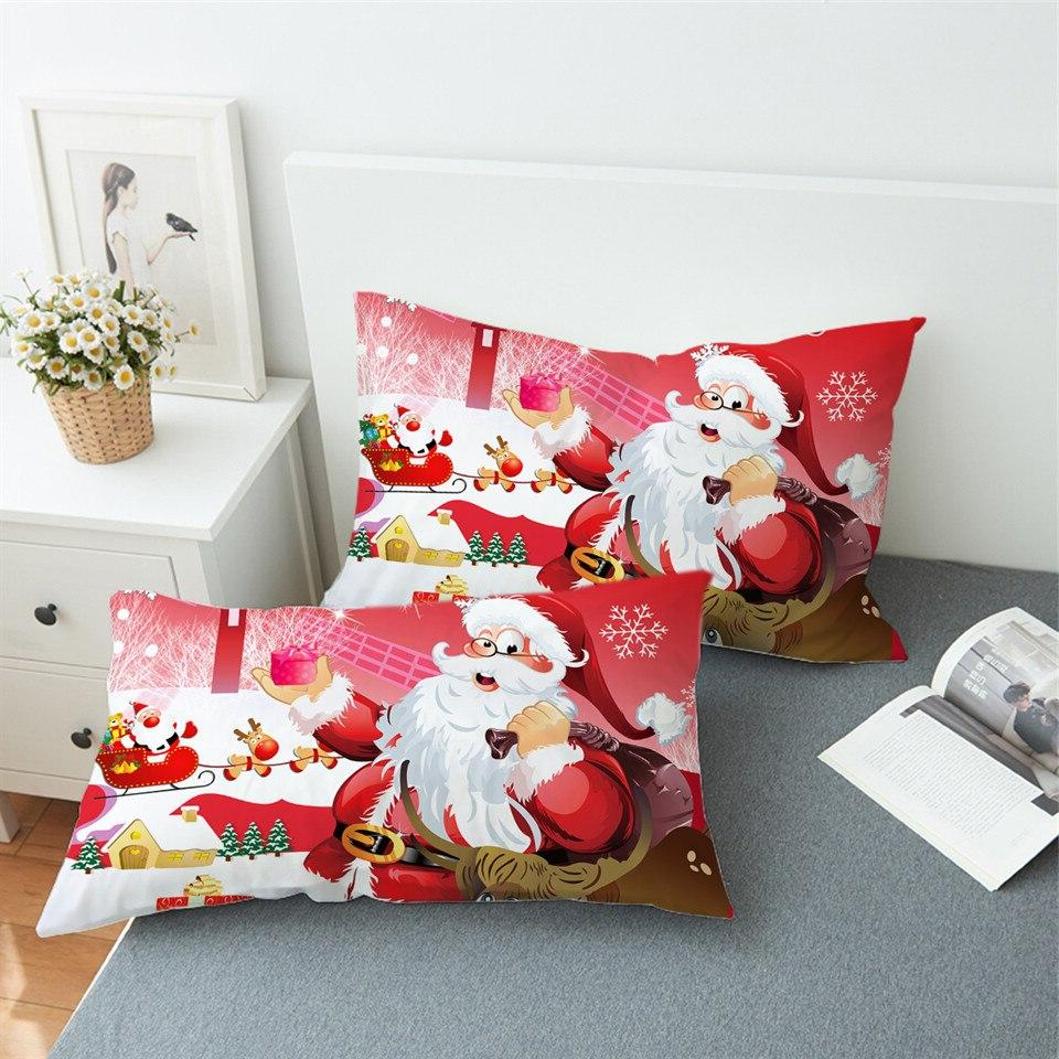Red and White Bed <font><b>Pillow</b></font> Cover Claus <font><b>Pillow</b></font> <font><b>Case</b></font> Home Snowman Bedding