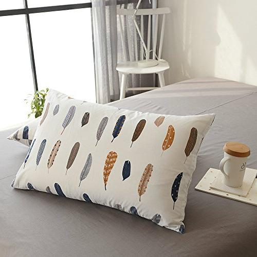 BuLuTu Cotton Feather 2 Queen Pillow Covers Kids Adults End-Premium,Ultra