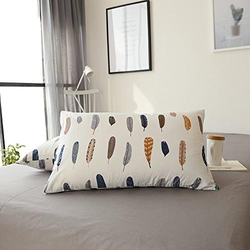 cotton feather print bed pillowcases