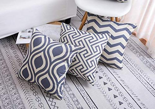 famibay Cotton Pillow Covers Square Patterns Throw Pillow Cases Decorative Set Couch Pack 6 Gray