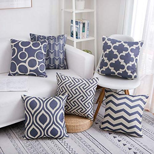 famibay Cotton Pillow Covers Set Sofa Couch Bed 18X18 Pack 6