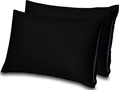 Cotton Sateen Zippered Pillow Cases 2 for Softness - Easy Hemmed Pillow 300 Utopia