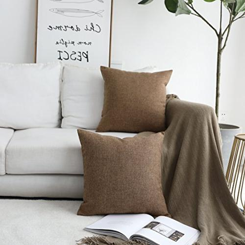 """HOME Pillow Case Cover for Sofa, Brown, x 18"""""""
