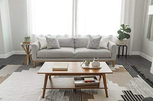 Woven Pillow ONLY for Couch, Sofa, Set 4 x 18 Quality Design 100% Cotton Stripes mud Brixton Set
